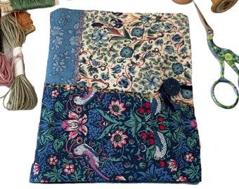 keepsake hand stitched needlecase, hand embroidered boro sashiko large Liberty pin and needle holder,  charity donation