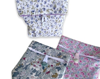 Little floral fabric makeup bag, small toiletries cosmetics pouch, handmade vintage fabric, organiser pochette,  charity
