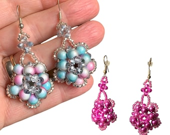 moonglow cluster chunky beaded earrings, handmade dangle hot pink and pastel pink turquoise bling sparkly party earrings, charity donation