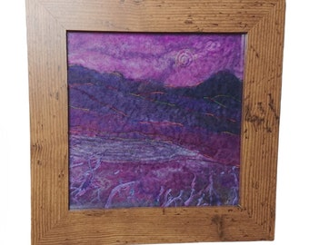 Purple landscape textile wall art, framed original wet felted picture, textile wall decor, moving or wedding gift, charity donation