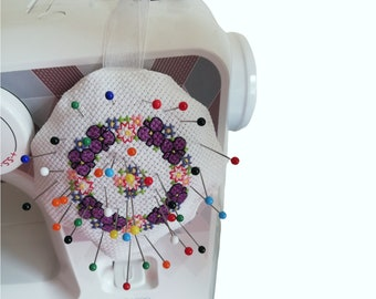 Cross-stitch handsewn flower pincushion, pretty floral pin and needle holder, sewing maching pin cushion, crafting gift, proceeds to charity