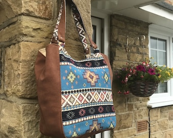 Blue Aztec expandable bag, roomy handmade hobo shoulder bag, overnight and lined with pocket, charity donation