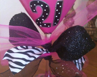 21st birthday Pink Martini Glass