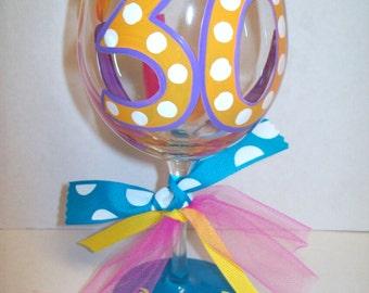 30th Birthday wine glass