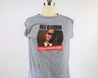 Max Headroom COKE C-C-Catch the wave 80s T-Shirt Gray Sleeveless Tee Thin Cotton Unisex Womens Medium Mens Small