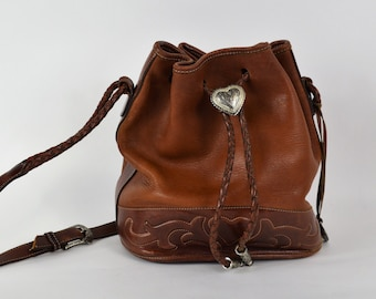 Vintage Brighton Handbag Brown Leather Bucket Bag with Braided Handle Large Size Western Style Brighton Purse