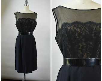 Vintage 1950s Black Cocktail Dress Illusion Lace Bodice Size Large LBD