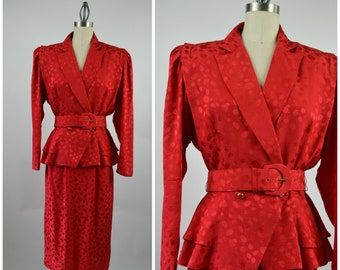 80s Vintage Suit RED Silk Strong Shoulder Belt Fitted Waist Peplum Peg Skirt Size Medium Powerful Woman