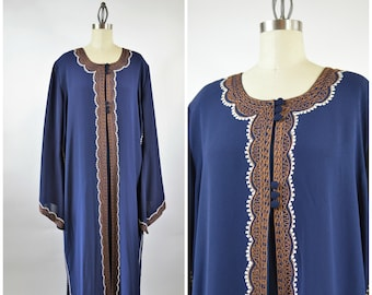 Vintage Caftan Blue and Gold Embroidered Trim Moroccan Dress with Bell Sleeve 2 Piece Dress and Open Coat Size XL Extra Large