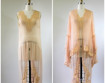 1920s Silk Negligee with Matching Jacket Sheer Silk Chiffon with Chantilly Lace Made in France Size Small Amazing Condition Pink and Beige