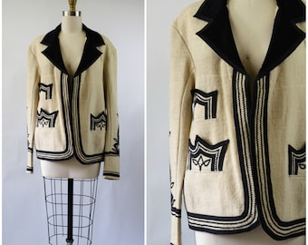 Vintage Wool Jacket Made In Mexico Black and White Wool with Black Rick Rack and Cotton Embellishments Size Large Unisex