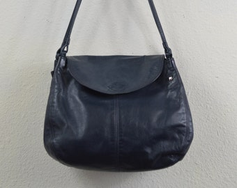 Vintage Halston Handbag 1970s 1980s Leather Navy Blue Shoulder Bag Purse Deep Gusset Double Handle Medium Size