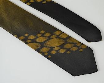 991aeb5ca724 Mens Skinny Tie Stripe Like Splotch Silk Black and Gold Iridescent Silk  NeckTie 1950s Retro Tie Atomic Era Rockabilly