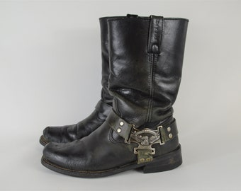 a161d5273e46 Mens Harley Davidson Boots size 8 1 2 Black Campus Style Motorcycle Boot  Heavy Duty Distressed