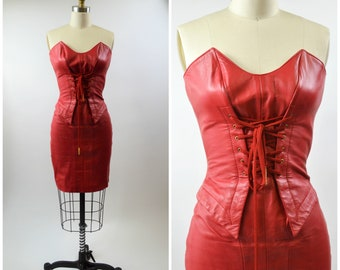 a143643b1ee 1980s Red Leather Dress Sexy Strapless Bustier Sweetheart Neckline Tight  Size XXS by Michael Hoban North Beach