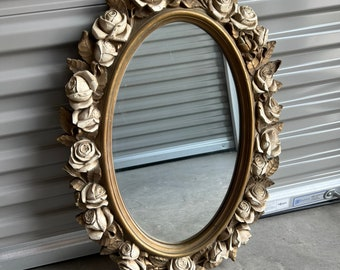 1970s Syroco Style Mirror Ornate Roses Antique Gold and White 19 x 27