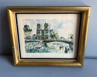 Small Framed Watercolor Paris Notre Dame Seine 8.5 x 7 Gold and Black by Foe