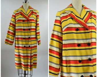 1960s 1970s Stripe Coat Red and Yellow and White Stripes Cotton Canvas Size Medium Nautical Theme Spring Time