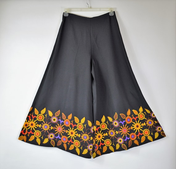 70s Palazzo Pants with Wide Leg Embroidered High W
