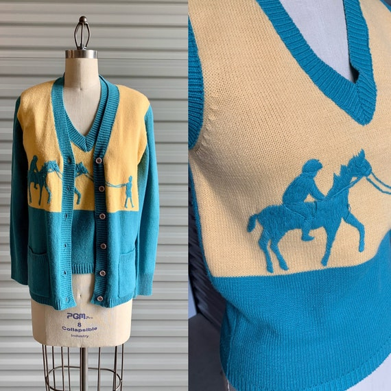 1950s Sweater Set Blue and Yellow with Horse and R