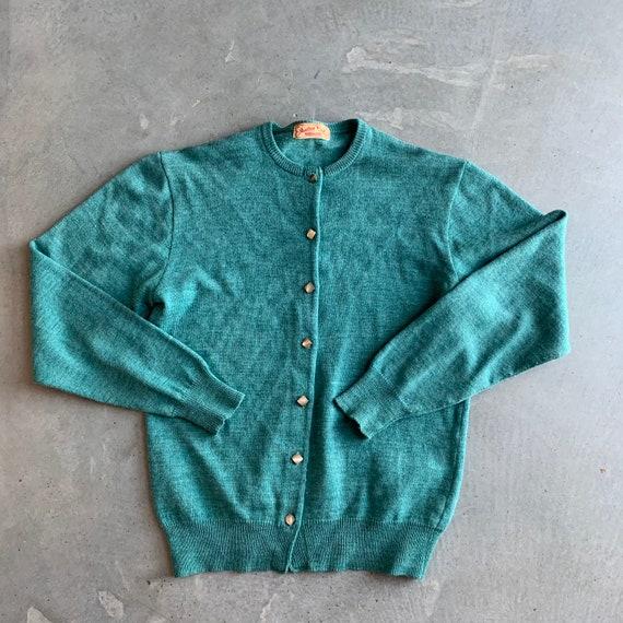 1950s Jantzen Sweater Green Knit Cardigan with Squ