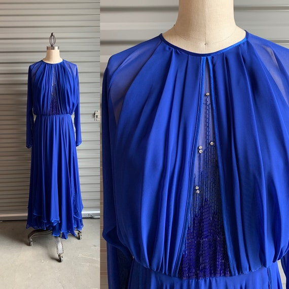 Vintage Flowy Sheer Dress with Beads Purple Chiffo
