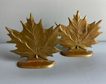 Vintage Leaf Bookends Brass