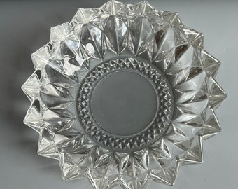 Large Round Ashtray Heavy Clear Glass with Points