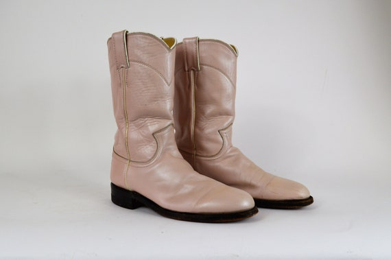 a28a0bd31ab Vintage Womens Pink Leather Justin Boots Size 6 1/2 C Pink Cowboy Boots  Western Boots Cowgirl Boots Roper Boots