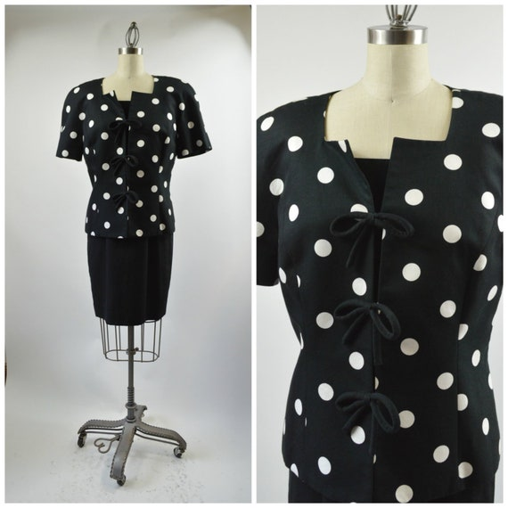Vintage Arnold Scaasi Dress Black And White Polka Dot With Etsy