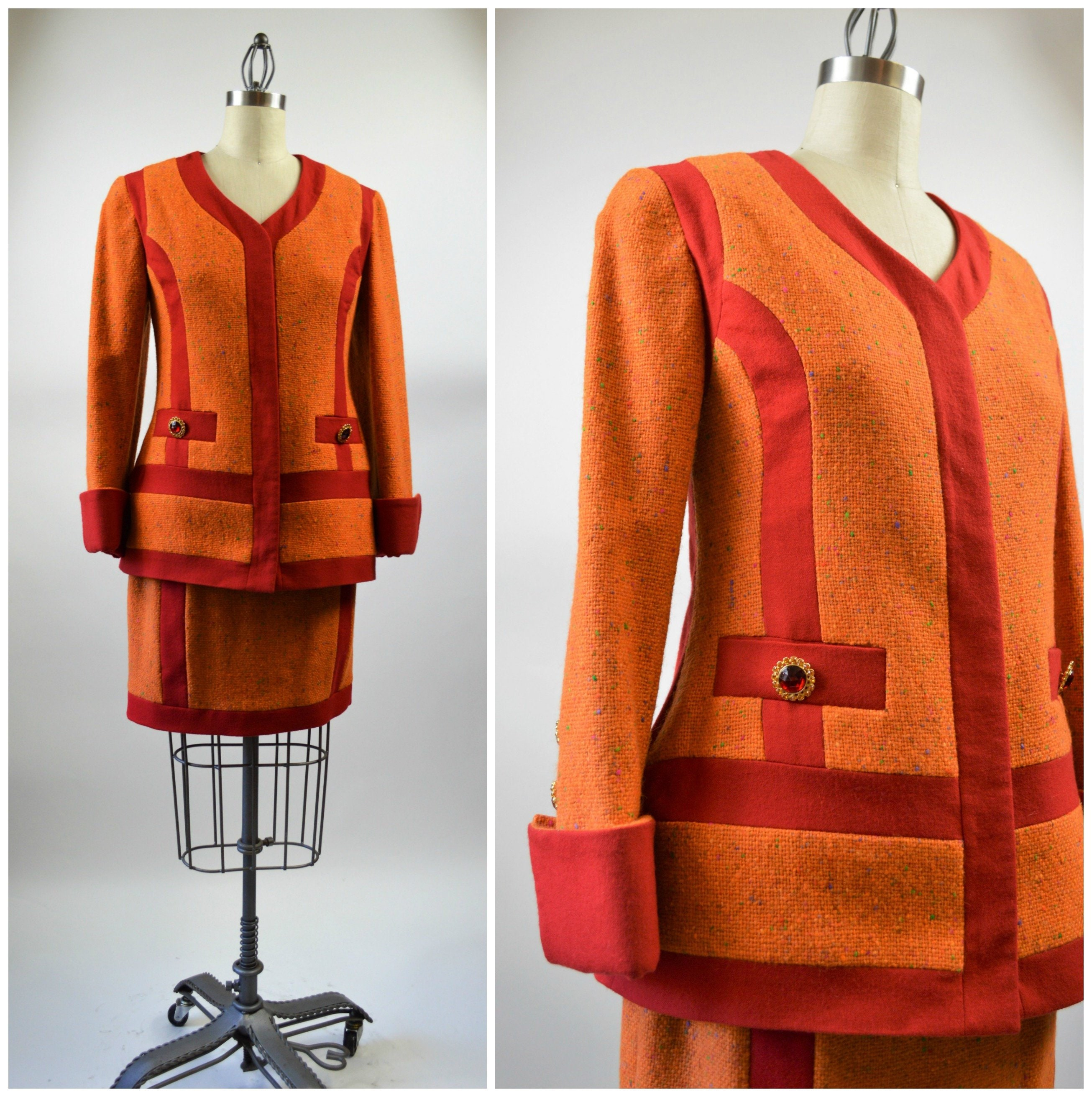 2af83f9dee3 1990s Gemma Kahng Iconic Suit Orange and Red Wool Large Fancy