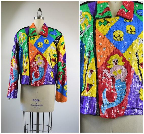 Sequin Jacket Size Large Rainbow Nautical