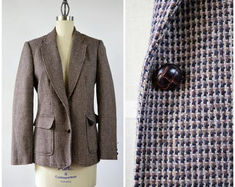 Vintage Tweed Jacket Brown Wool and Silk Blend Leather Look Buttons Size Small 3 pocket Wool Blazer by Worthington