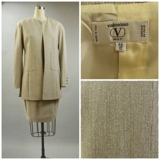 Early 90s Valentino Suit Womens Jacket and Skirt Size 44 Size 10 Size Medium Brown Tweed in Silk and Wool Blend