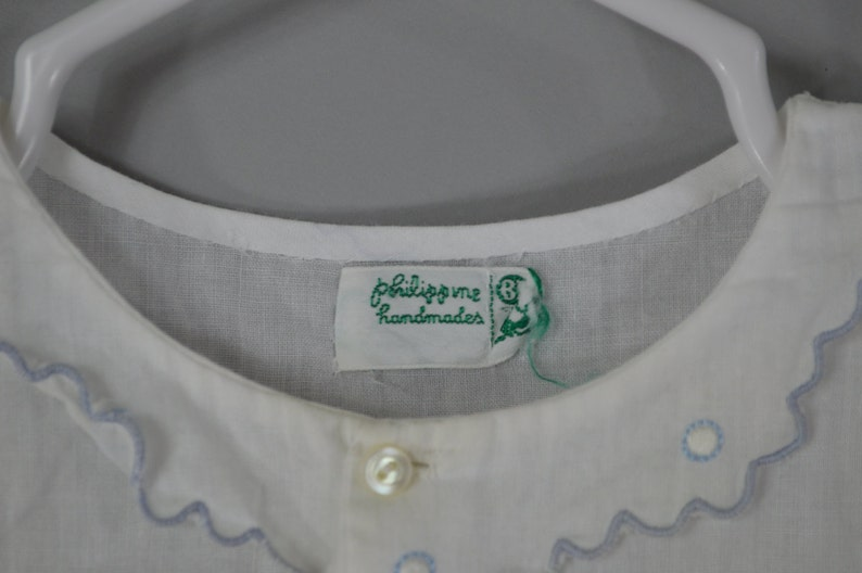 Vintage 1940s Baby Dress White Cotton Top Completely Hand Stitched Handmade in Philippines with Embroidered Fox Pin Tucks