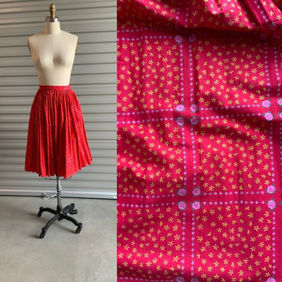 1950s Circle Skirt by Greta Plattry Cotton Floral