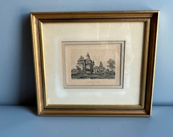 Small Framed Colored Lithograph Print French Chateau De La Saucerie 9 x 8 Gold and Black by Phillippe Benoist