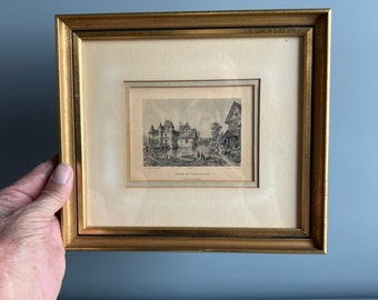 Small Framed Colored Lithograph Print French Chateau De S. Germain-DE-Livet 9 x 8 Gold and Black by Phillippe Benoist