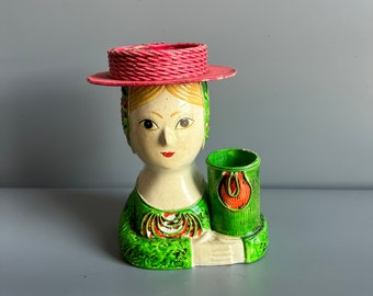 1970s Lady Head Jewelry Holder Trinket box Candle Holder Pink and Green Paper Mache Dresser Caddy by Collegiste