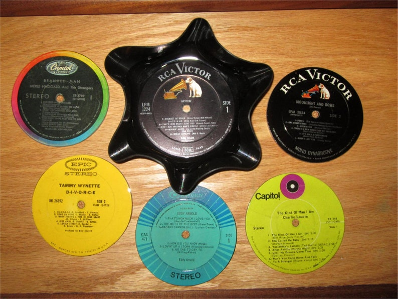 Recycled Record Coasters Set Of 5 With Melted Bowl