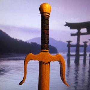 Hair Stick Fantasy Sword 6 in  Cherry Wood
