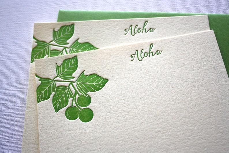 Hawaii Letterpress Greeting Cards Kukui Candlenut Aloha Mahalo Dark Green
