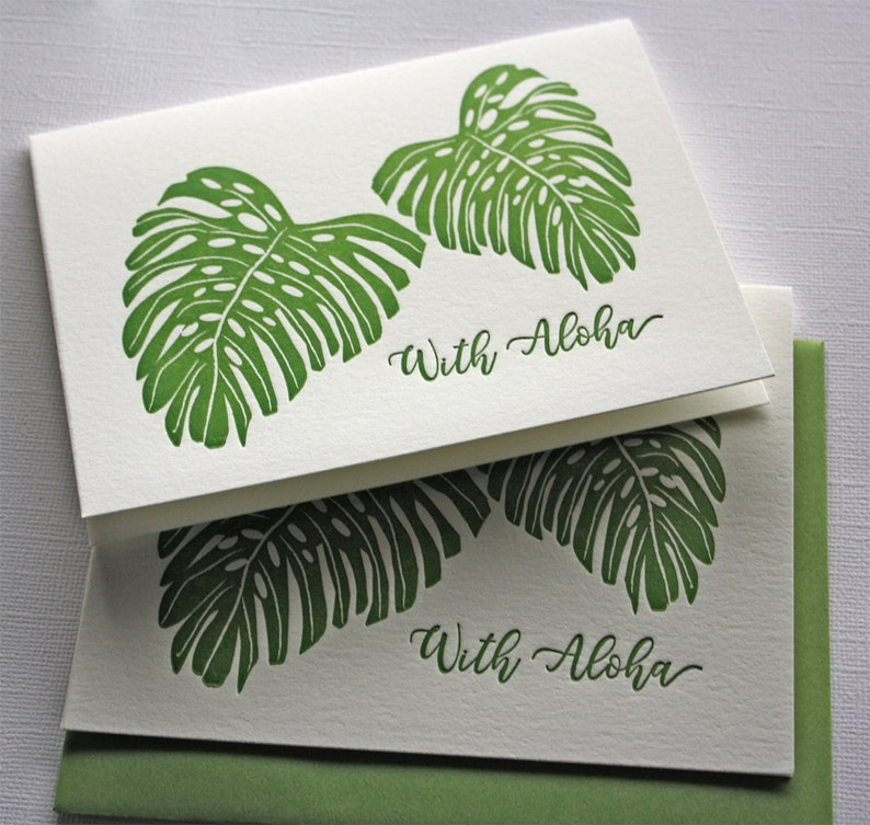 Hawaii Monstera Letterpress Cards With Aloha Forest Green