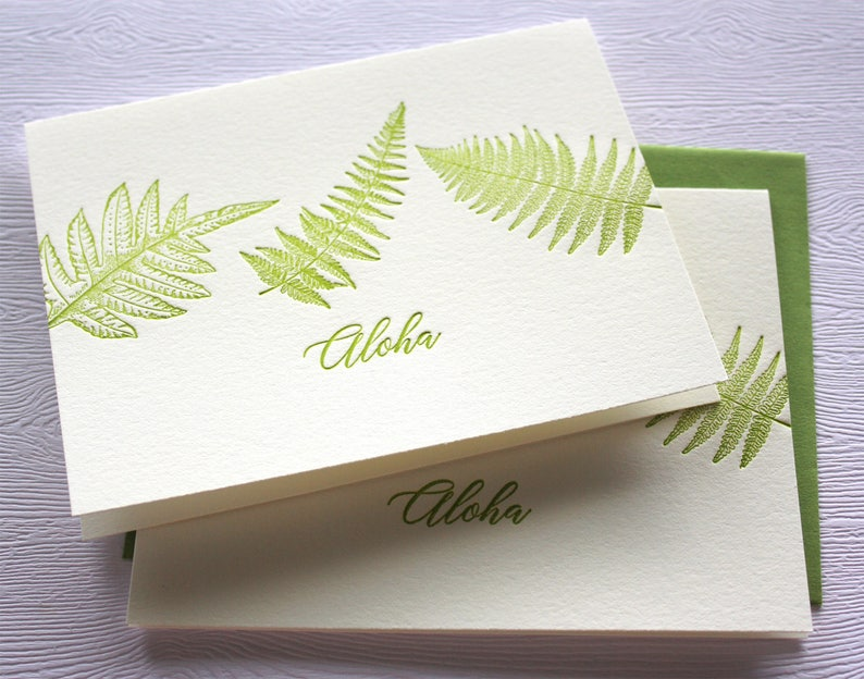 Hawaii Ferns Letterpress Greeting Cards Aloha Mahalo Forest Green
