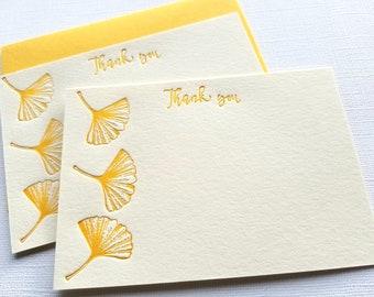 Letterpress Thank You Cards Ginkgo Honey Gold