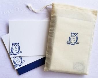 Owl Letterpress Stationery with Muslin Sack Navy Blue Note Cards