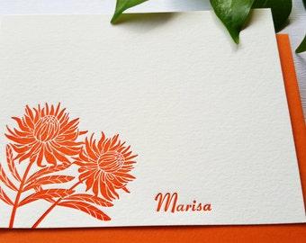 Protea Flower Personalized Letterpress Stationery Card Set