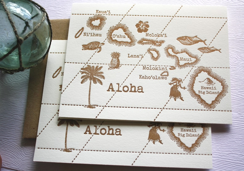 Aloha Hawaii Vintage Map Letterpress Folded Greeting Cards Set Copper Gold