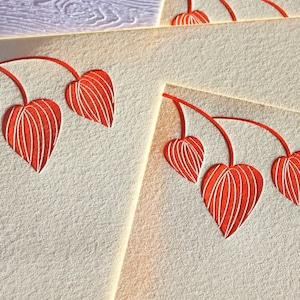 Personalized Letterpress Stationery Leaves Tangerine Orange