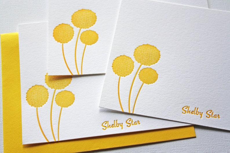 Personalized Letterpress Stationery Craspedia Honey Gold